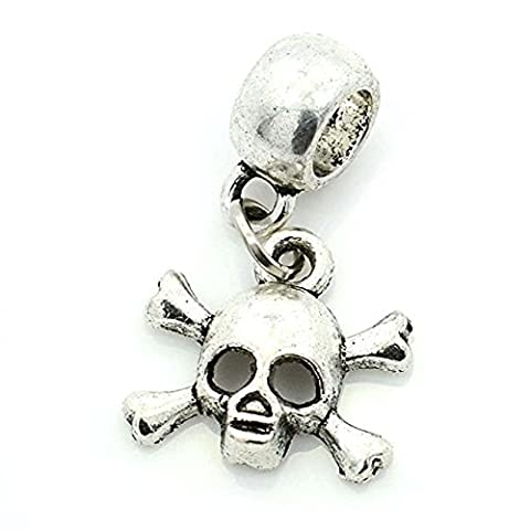 Pro Jewelry Skull and Crossbones Dangling Bead Compatible with European Snake Chain Bracelets - Crossbones Slide Charm
