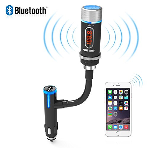AKASO Wireless Bluetooth FM Transmitter Radio Adapter Handsfree Car Kit with Hands-Free Calling and Music Control