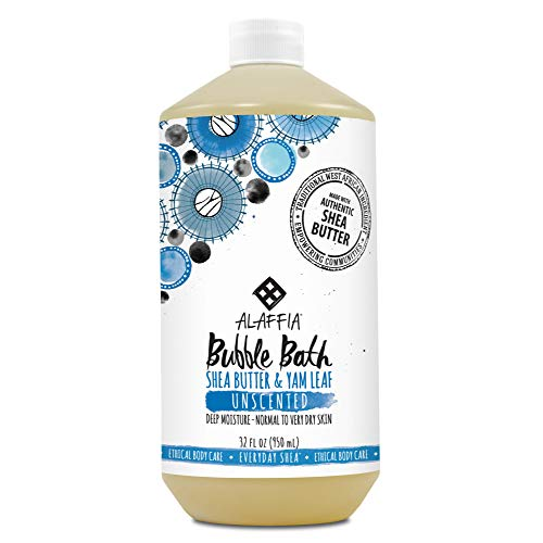 Alaffia - Everyday Shea Bubble Bath, For All Skin Types, Soothing Support for Deep Relaxation and Soft Moisturized Skin with Shea Butter and Yam Leaf, Fair Trade, Unscented, 32 Ounces - Bath Unscented