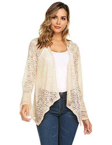 (Concep Lady Floral Lace Cardigan Kimono Bell Sleeve Summer Tops Beach Bikini Cover up Blouse (Beige, X-Large))