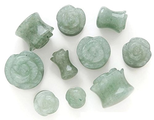 Green Jade Saddle (Rose Carved Green Jade Aventurine Stone Plugs - Sold by Pair (Choose Size) (00G (10mm)))