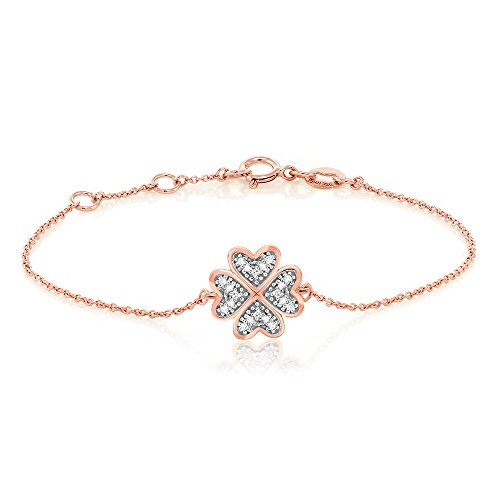 18K Rose Gold White Diamond Clover Shape Bracelet Fits 6.5 Inches Diamond 18k Gold Bracelet