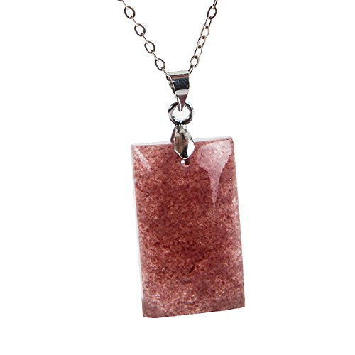 Strawberry Quartz Pendant - LiZiFang Genuine Red Natural Strawberry Quartz Gemstone Rectangle Bead Crystal Pendant
