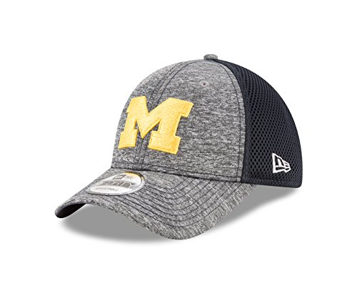 New Era Spandex Hat - New Era NCAA Michigan Wolverines Adult Shadow Turn 9FORTY Adjustable Cap, One Size, Graphite