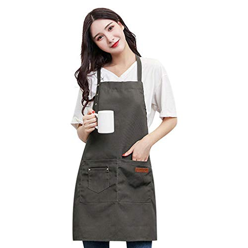 Yattafasion Cotton Simple Solid Color Canvas Apron is Dirt-Resistant and Easy to Clean