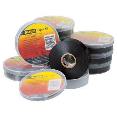 3M Scotch Super 88 Vinyl Electrical Tape, -18 to 105 Degree C, 10000 mV Dielectric Strength, 66' Length x 3/4