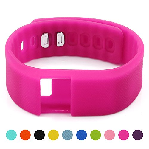 Soft Silicone Band for Teslasz Fitness Tracker in 10 Colors,Rose Pink
