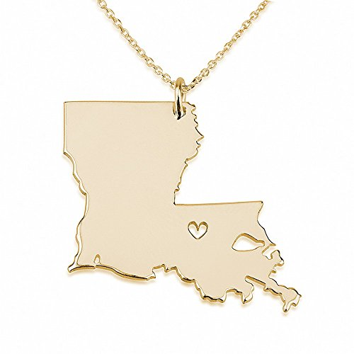 (State Necklace Louisiana State Charm Necklace 18k Gold Plated State Necklace with a Heart (16 Inches))
