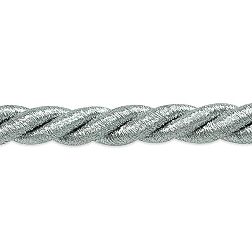 Holly 3/8in Twisted Cord Trim Metallic Silver (Precut 20 Yard) ()