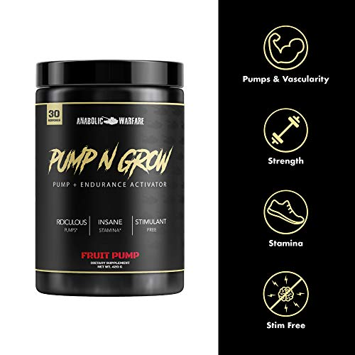 Pump-N-Grow Muscle Pump and Nitric Oxide Boosting Supplement by Anabolic Warfare * – Caffeine Free Pre Workout with L-Citrulline, L-Arginine, Beta-Alanine Au Naturel 30 Servings