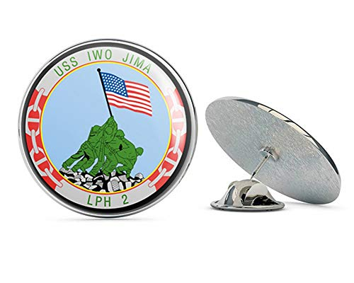 (US Navy USS Iwo Jima LPH-2 Military Veteran USA Pride Served Gift Metal 0.75