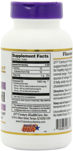 21st Century Flaxseed Oil 1000 mg Softgels, 120 Count by 21st Century (Image #5)