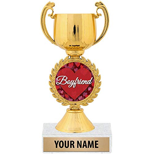 """Personalized Ideas, 7 1/4"""" Best Boyfriend Award Trophy Great Customizable Gift for Him Prime"""