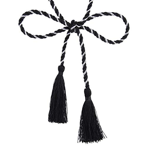 (Lyanther 1 Pair of Curtain Tiebacks Tie Backs Tassel Rope Living Room Bedroom Decoration 135CM (Black + Silver))
