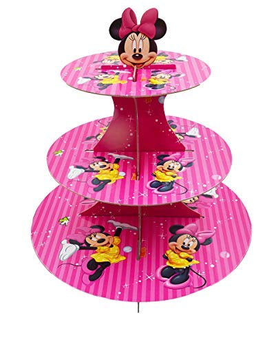 (3-Tier Cute Round Minnie Mouse Muffin Cupcake Holder Cupcake Stand (Minnie Mouse))