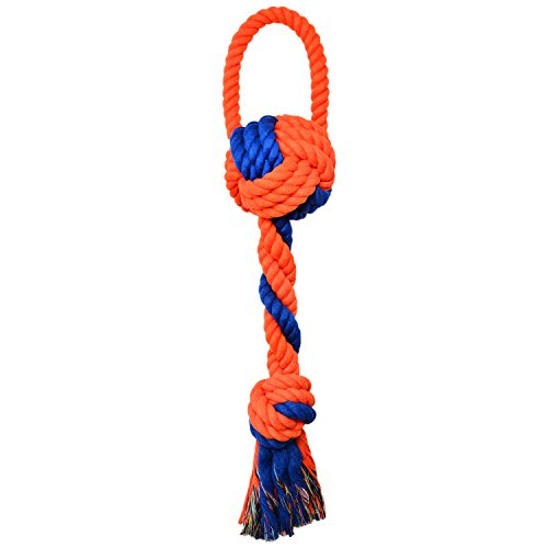 Tug Rope for Large Dogs, Dog Chew Rope for Aggressive Chewers, 2-Knot Cotton Rope Dog Toy with a Handle for Tug of War Dogs' Dental Health Indoor & Outdoor Play