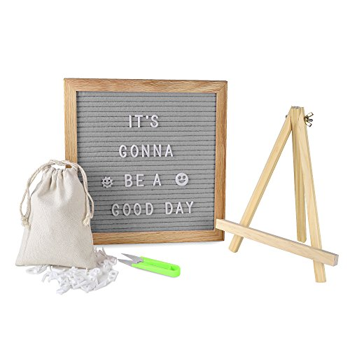 OlisChoice Changeable Gray Felt Letter Board 10x10 Inch with 340 Letters, Tripod Stand, Scissors & Canvas Bag - Message Sign Board with Emoji, Alphabet, Numbers - Oak Message Board, Marquee Sign by ()