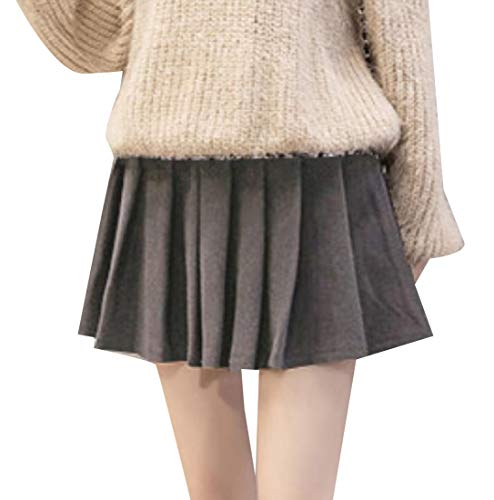Coolred-Women Mini Party Uniform Glen Plaid Pleated School Skirt Gray XS -