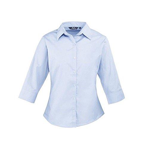 Femmes Chemisier femme de clair Chemise manches uni pour Coloris Bleu femme courtes Bleu Popeline 3 travail pour 4 rOfxrX