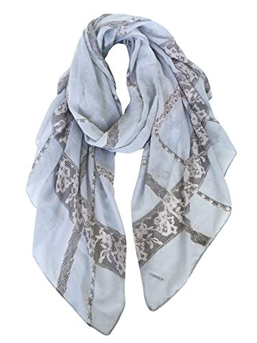 (GERINLY Fashion Lace Design Head Scarf Travel Wrap Lightweight Lady Shawls (Lightblue-Gray))