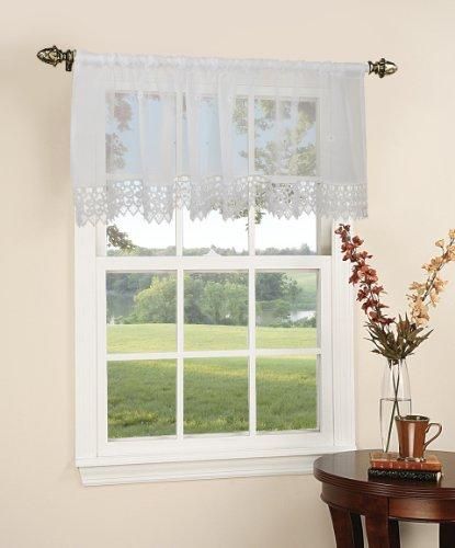 Violet Linen Daisy Design Sheer Window Valance, 60