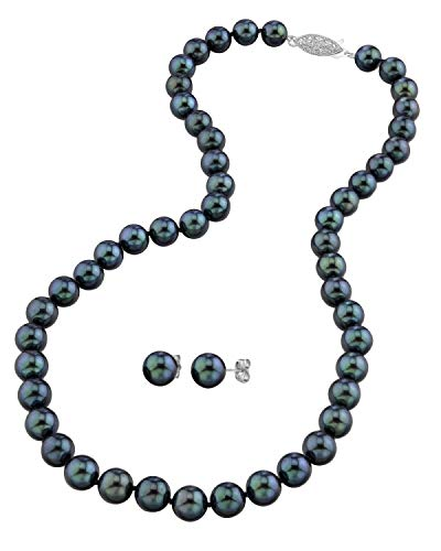 THE PEARL SOURCE 14K Gold 6-6.5mm Round Black Akoya Cultured Pearl Necklace & Earrings Set in 17