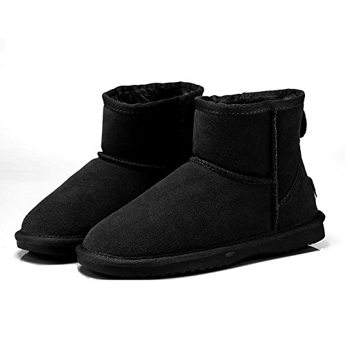Black Ankle Lining Toe Boots Flat Booties Black ZHZNVX for Comfort Fluff Boots Women's Boots Snow Winter Casual Camel Closed Leather HSXZ Shoes Toe Round OwgxOTAq