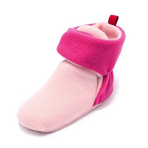 Haodasi Baby Schuhe Junge Mädchen Kleinkind Anti-Rutsch Hohe Stiefel Erstes Gehen Schuh 0-24 Monate 12 Farbe Dunkelpink