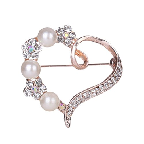 Botrong Women Rhinestone Brooch Pin Pearl Brooches Scarves Clip Shawl Buckle gifts 14k Yellow Gold Ribbon