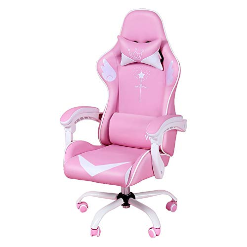 Gaming Computer Chair Girls Pink, Home Fashion Silla en vivo Internet Cafe Silla de juego Rotary Lift Office Boss Chair