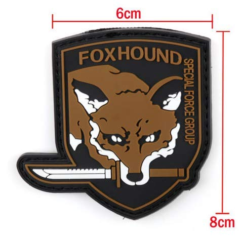 Metal Gear Solid Foxhound Fox Hound Military PVC Patch Rubber Badges Patch Tactical Stickers for Clothes Back with Hook (color1)]()