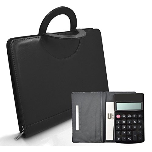 [izBuy PU Leather Portfolio Organizer,Office Folio Organizer&Professional Documents Binder Case-Best Tools for Interview,Job & Business with Zippered Closure,10 Leaflets&Calculator Included] (Bus Driver Uniform Costume)