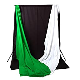 CowboyStudio Complete Photography / Video Studio Triple Lighting Light Kit, 10\' x 12\' Background Support System and Black, White and Green Muslin Backdrops