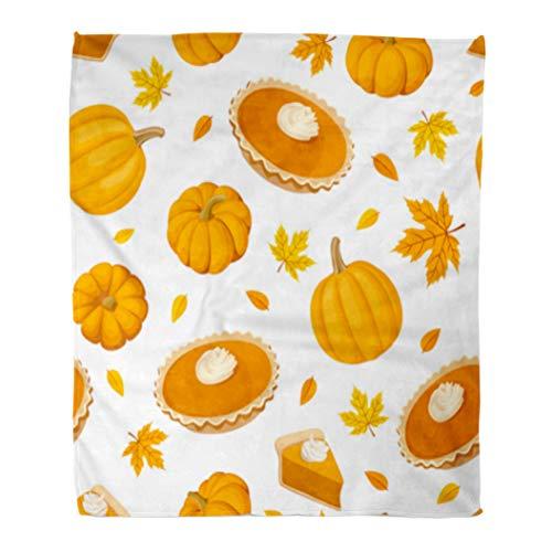 Golee Throw Blanket Beige Thanksgiving Pumpkin Pies and Brown Dessert Pattern Leaf Cooking 60x80 Inches Warm Fuzzy Soft Blanket for Bed Sofa -