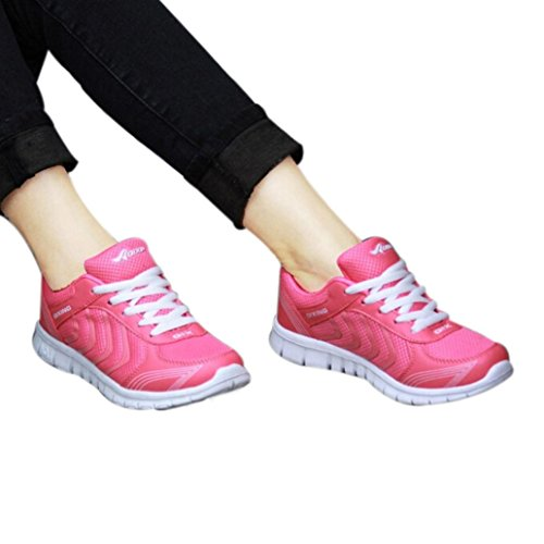 DENER Women Ladies Girls Running Sneakers,Mesh Lace up Arch Support Wide Width Walking Casual Sport Athletic Shoes (Hot Pink, 38)