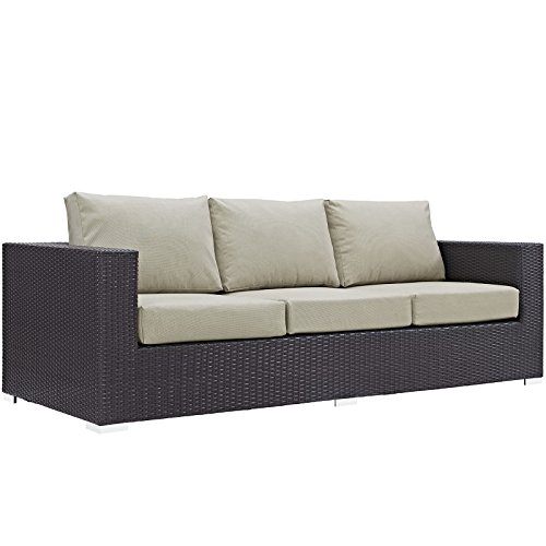 Modway Convene Wicker Rattan Outdoor Patio Sofa in Espresso Beige ()