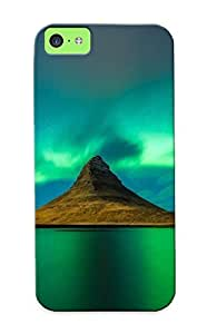 Nice Iphone 5c Case Bumper Tpu Skin Cove Rwith Aurora Borealis Over The Mountain Lake Design For Thanksgiving Day Gift by supermalls
