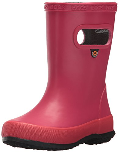 (Bogs Kids' Skipper Waterproof Rubber Rain Boot for Boys and Girls,Solid Berry,9 M US Toddler)