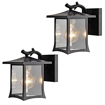 Twin Pack - Designers Impressions 73475 Oil Rubbed Bronze Mission Style Outdoor Patio/Porch Wall Mount Exterior Lighting Lantern Fixtures with Clear Glass
