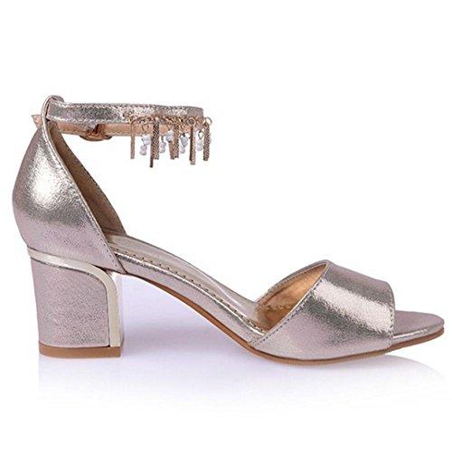 COOLCEPT Zapato Mujer Resplandecer Cadenas Punta Abierta Chunky Tacon medio  Al Tobillo Sandalias Oro ...
