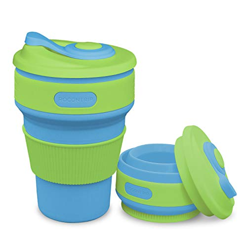 ROCONTRIP Silicone Collapsible Cup Convenient Travel Coffee Mug Lightweight Food Grade Silicone & PP BPA Free for Camping Hiking Outdoor Commuters