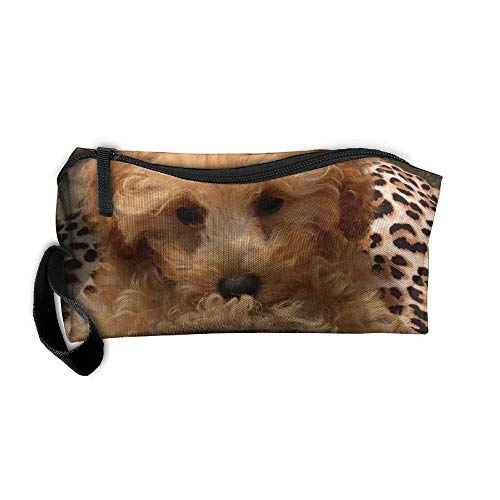 Poodle Dog Leopard Sofa Travel Jewelry Bag For Womens Cosmetics Case Makeup Organizer With Zipper