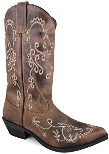 Smoky Mountain Women's Jolene Pull On Embroidered Snip Toe Brown Waxed Distress Boots 9M