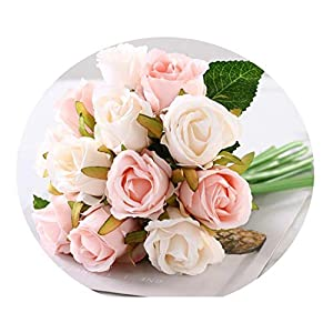 12PCS/Lots Artificial Rose Flowers Wedding Bouquet Royal Rose Silk Flowers for Home Decoration Wedding Party Decor Champagne 97
