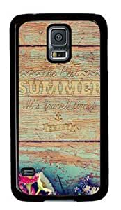 Galaxy S5 Case,Summer Travel Time Wood Writing Case for Samsung Galaxy S5 PC Material Black Customize PIX1 Phone