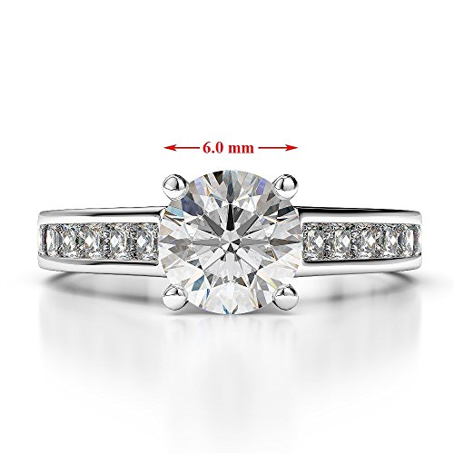 Or blanc 18 carats 1.14 CT G-H/VS sertie de diamants Saphir de coupe ronde et bague de fiançailles Agdr-1224
