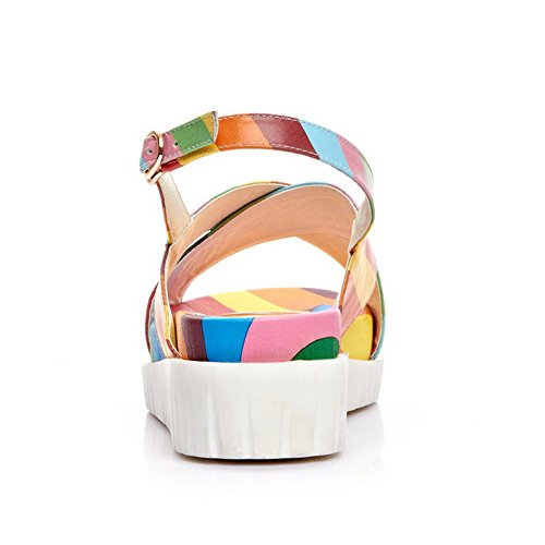 AmoonyFashion Heels Kitten Toe Assorted Open Sandals Material Soft Multicoloured Womens Color grS8wEqxgp