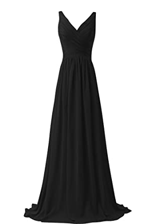 KARMA PROM Womens Chiffon V-neck Sleeveless Prom Dress Simple Bridesmaid Dress Black us2