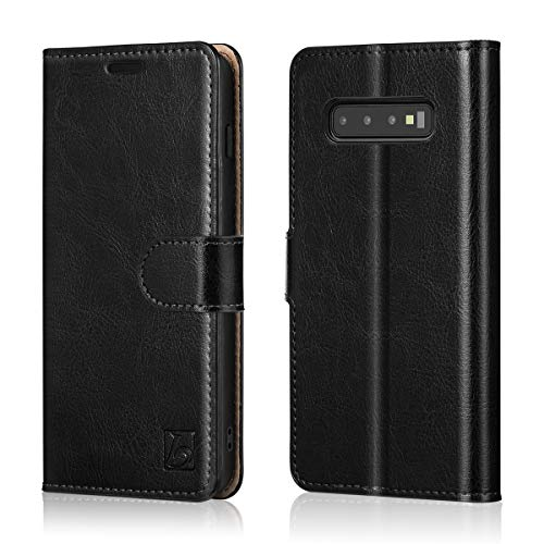 Belemay Samsung Galaxy S10 Plus / S10+ Wallet Case, Genuine Leather Flip Case, Folio Book Cover, Card Holder Slots, Cash Pockets, Kickstand, Magnetic Closure Compatible Samsung Galaxy S10 Plus, Black