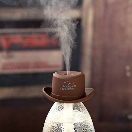 PIUPIU Mini Cowboy Hats USB Mist Water Bottle Humidifier Portable Ultrasonic Sprayer Essential Oil Aroma Diffuser for Car Yoga Office Bedroom 3 Hours Auto Power Off (Brown)